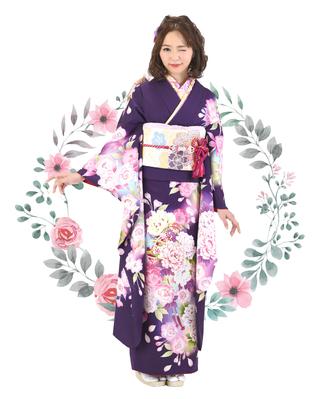 濃紫地に大輪牡丹と桜の毬柄振袖【MK-106】